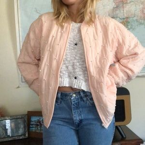 Vintage Silk Blush Quilted Bomber Jacket